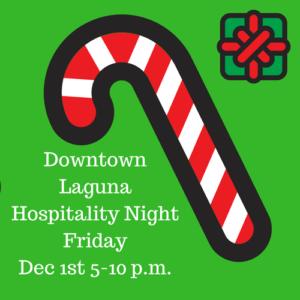 Hospitality Night Downtown Laguna Beach California Shop Local Santa Claus Tree Lighting